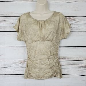 A.Byer   Champagne Floral Lace Top